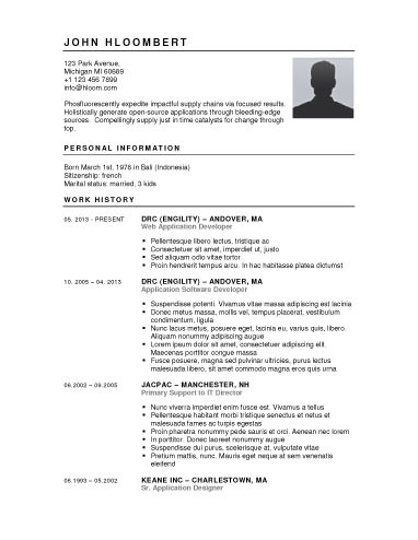 Button-Down - free resume templates