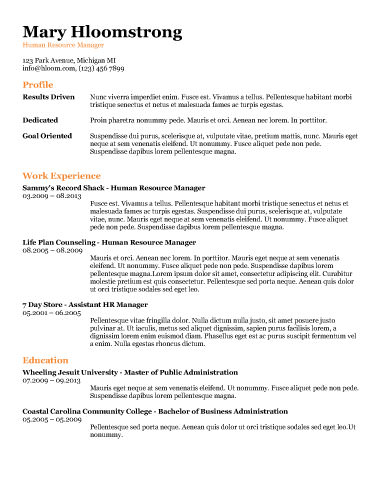 All the Information - free resume templates