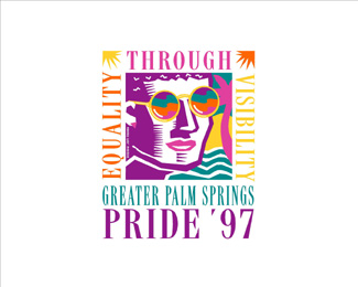 greater palm springs pride - goggles on face logo