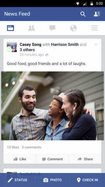 Facebook testing their Android App with material design web design trends
