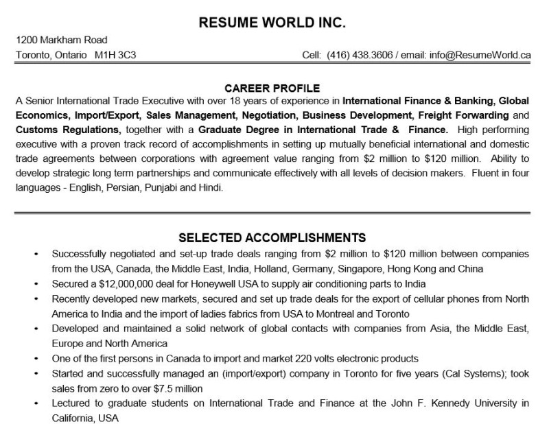 write executive resume