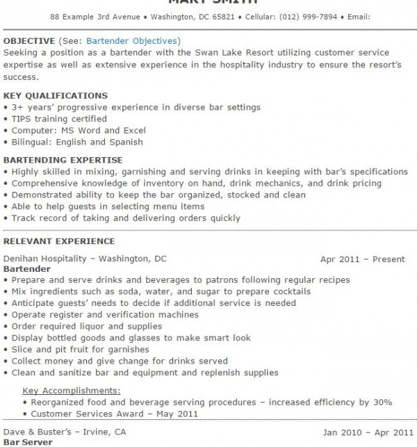 2 Bartender Resume Sample