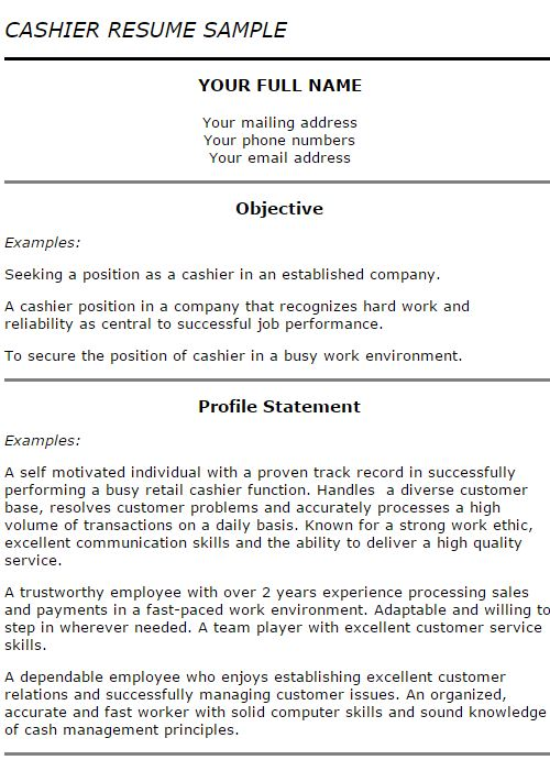 2-Cashier Resume