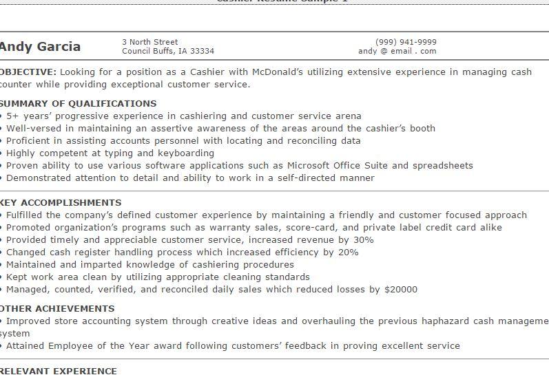 3-Cashier Resume