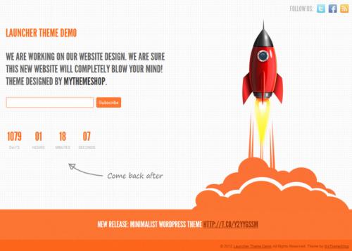 1. Launcher Theme - Coming Soon WordPress Themes