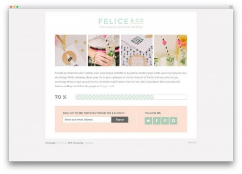2. Felice - Coming Soon WordPress Themes