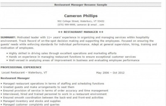 Restaurant Manager Resumes