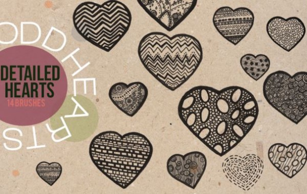 Detailed Heart Brushes - decorative heart brushes photoshop