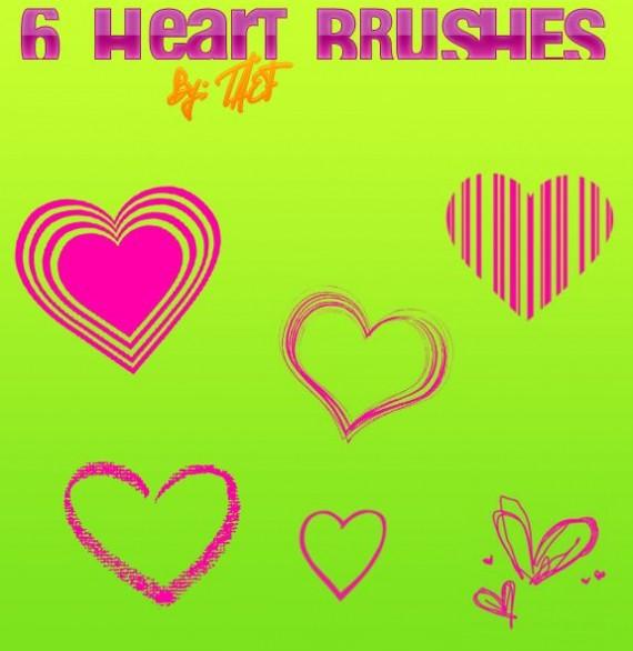 6 Heart Brushes - heart paint brushes photoshop