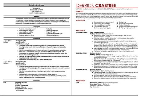 Business Analyst Resume Template LiveCareer Sample Collection
