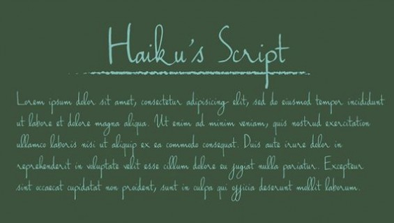 Haiku Script - good handwriting font download