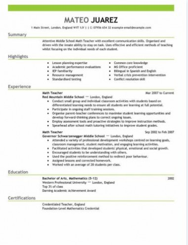 teacher resume sample template