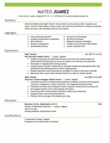 teacher resume sample template