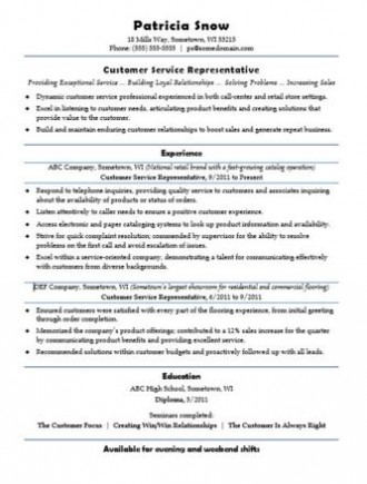 Career Advice Customer Service Resume Sample 2 - customer service resume templates free