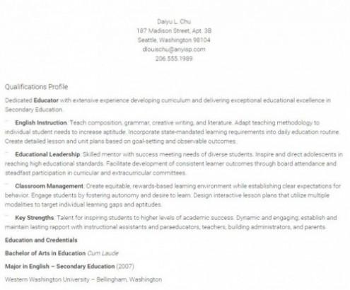 teacher resume templates for word