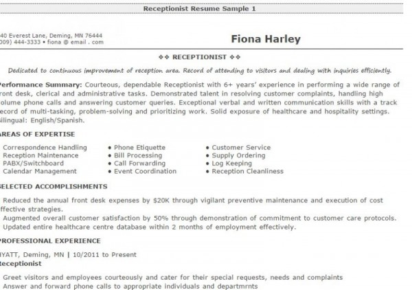 receptionist resume examples