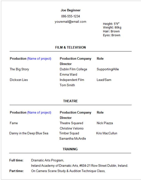 professional acting resume template