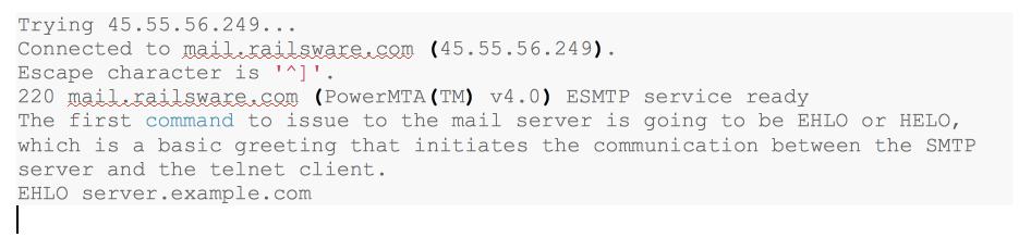 Steps to test the SMTP Server using Command Line on Telnet