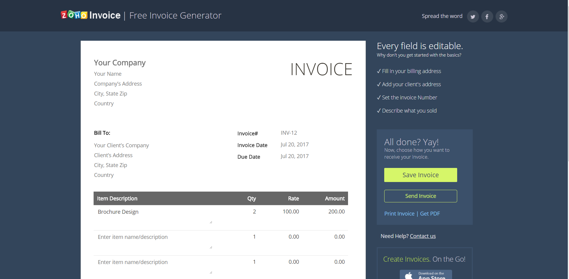 Best Free Invoice Generators - Free invoice generator zoho