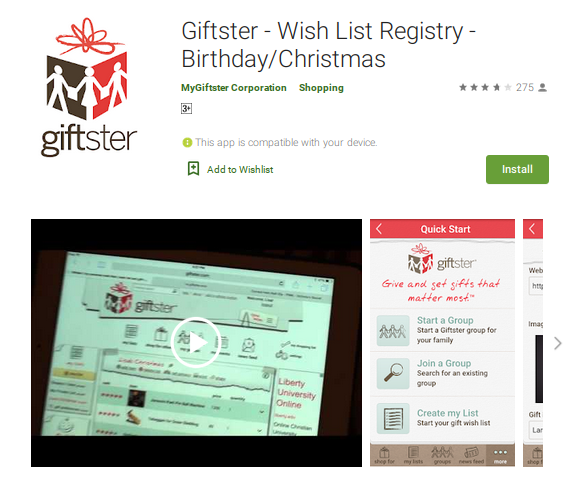 5. Giftster (Android, iOS) wishlist app