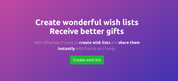 3. Giftwhale (web-based) best wishlist website