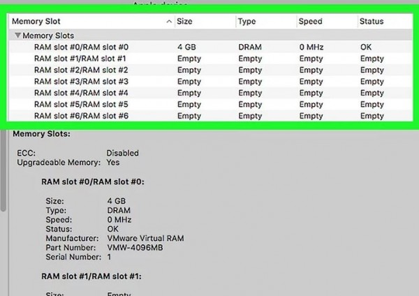 4) Check the Memory Slots table