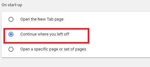 Restore Tab Chrome Through Settings