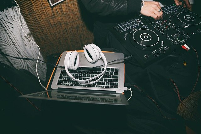 laptop and headsets